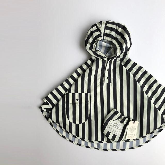 stripe poncho / rain coat (レインコート) Ocean&Ground