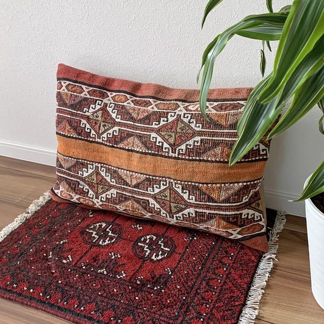 ヴィンテージ 手織り キリム クッションカバー 長方形 ビッグサイズ