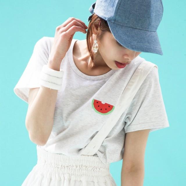 【10/31までの期間限定SALE】スイカ刺繍Tシャツ
