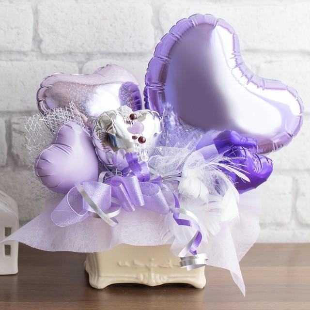 運気 UP パワーバルーン パープル( ラベンダーアメジスト + バルーンアレンジ)【 癒し と 安らぎ 、知性 を高める】込めた想いが伝わる 風水 カード (色 ストーン 効果 吉方位 説明)を添えます。 色と石にあった方位にパワーバルーンを置いていい 気の流れ を。  メッセージカードお付けします。母の日 ギフト 母の月 GIFT 結婚祝い お誕生日 御祝い 記念日 贈り物 バースデー ギフト に最適 インスタ映え Balloon