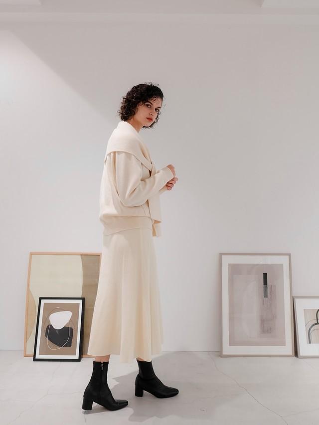 knit flare skirt(ivory)