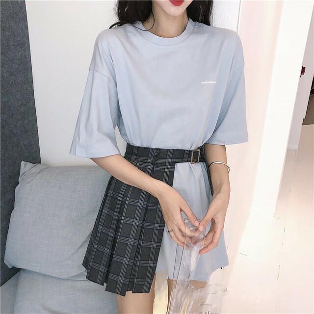 【セット】「単品注文」ドロップショルダー着痩せTシャツ+チェック柄スカート20604792