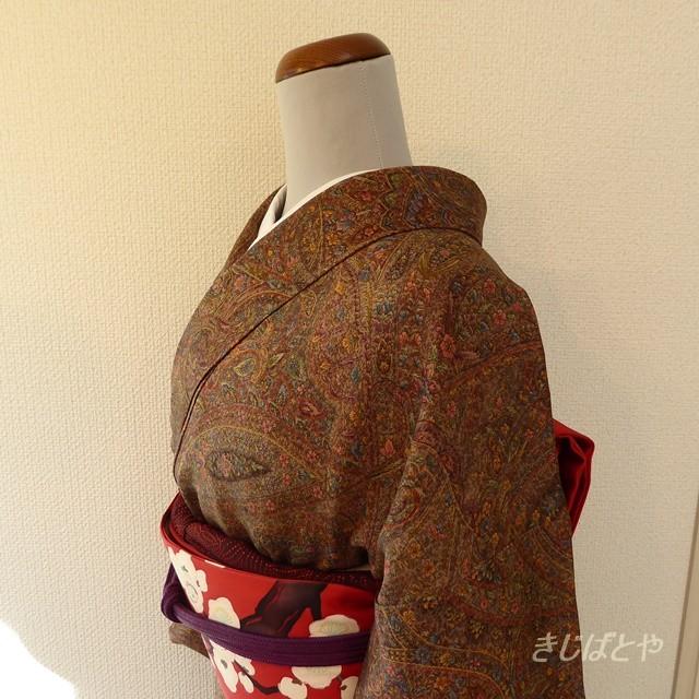 正絹ちりめん 茶に更紗柄の小紋 袷の着物