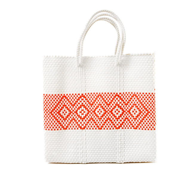 MERCADO BAG DIAMOND LINE-White x Orange (M)