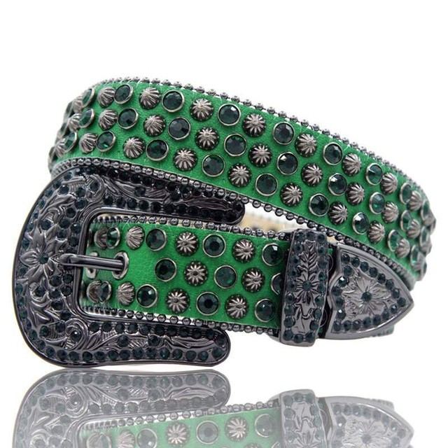 HERMETIC Crystal Leather Belt GREEN
