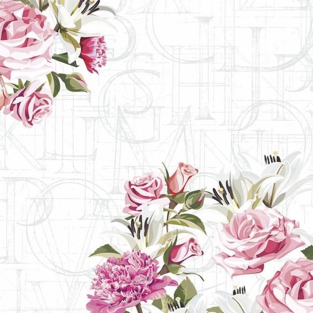 12月9日出荷|2021春夏新作【Paper+Design】バラ売り2枚 ランチサイズ ペーパーナプキン Rose letters ホワイト
