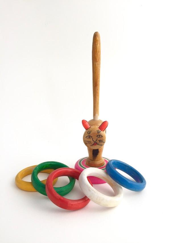 はりまや木地玩具「ネコのわなげ」