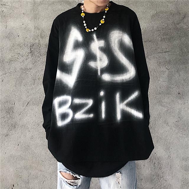 【トップス】長袖アルファベット図柄プリント暗黒系Tシャツ34069873