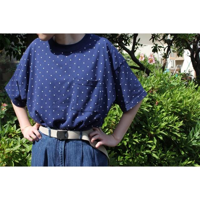 Vintage dot print pocket t shirt