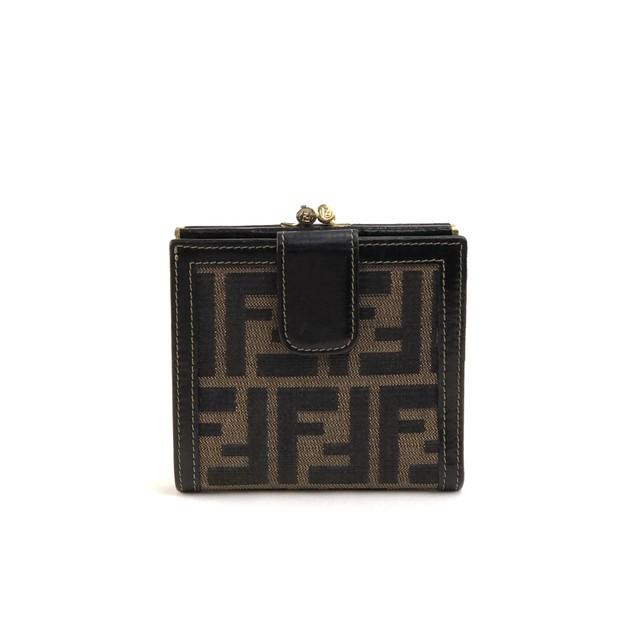 FENDI フェンディ ズッカ柄 二つ折り がま口 財布 ブラウン オールド ヴィンテージ vintage bmr86m