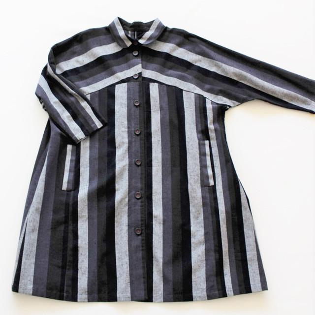 久留米かすり配色縞コート