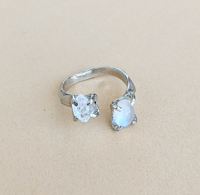 Herkimer Diamond, Royal Blue Moonstone Ring