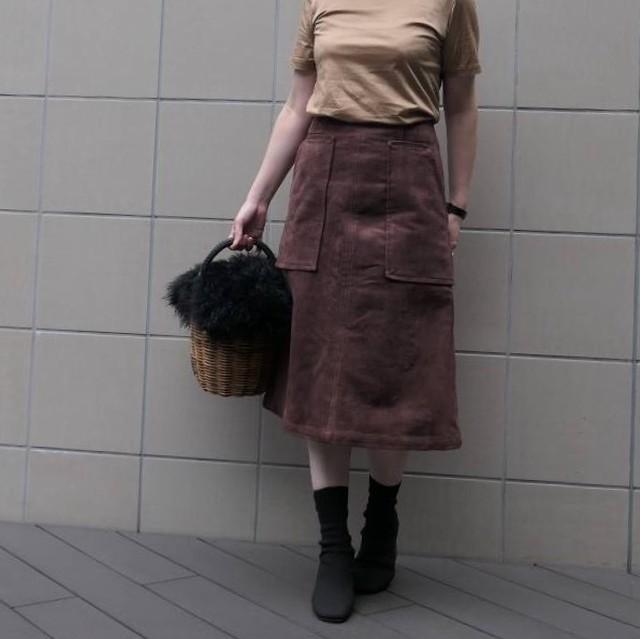 KU-UM×momo フェイクスエードAラインスカート ココアブラウン