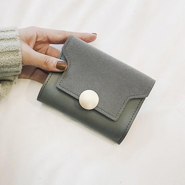 レザー調コンパクト三つ折りミニ財布 札入れ カード入れ ウォレット ブラウン