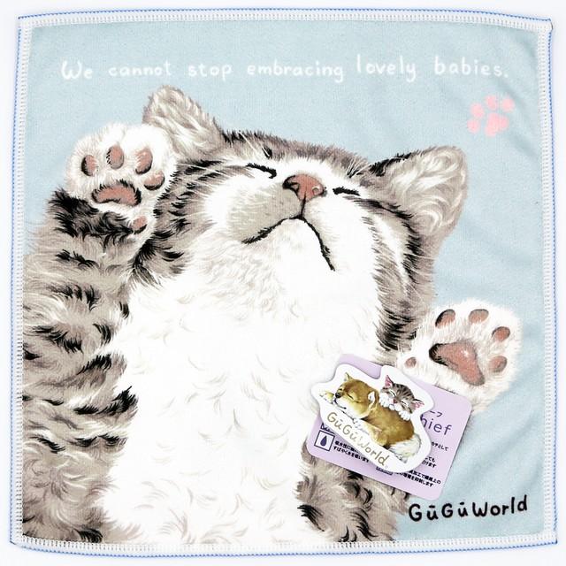 猫タオルハンカチ(GuGuWorldeいろいろ使えるハンカチーフ)ネコ2