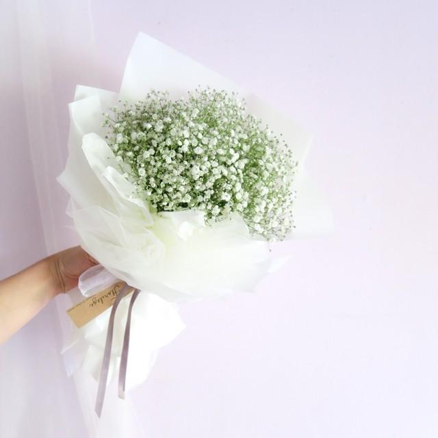 white baby's breath bouquet (ホワイトかすみそう花束)かすみそう ギフト