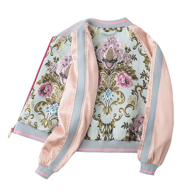 刺繍入り アウター ジャケット トップス 上着 レディースファション ジッパー スタンドネック 長袖 ショート丈 ゆったり 可愛い ピンク S M L LL 個性的