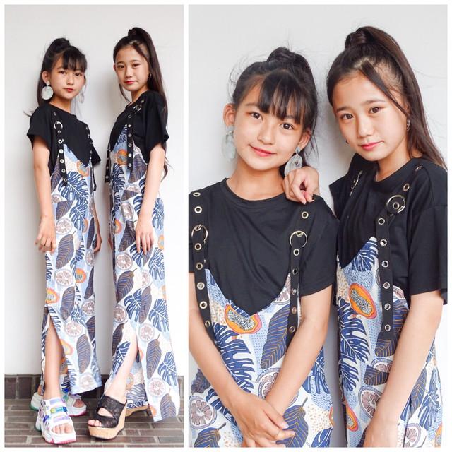 【Mukuコラボ】110~170cm ★ Tシャツ + リーフ柄 サロペット 2点セット