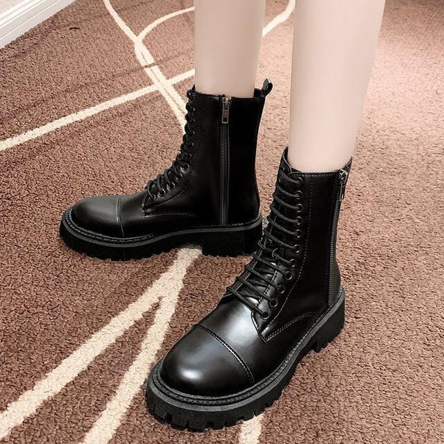 【シューズ】ファッションボウタイシンプル無地ブーツ34008159