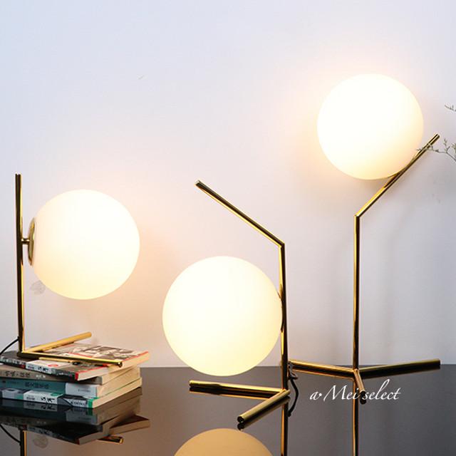 【ラウンドボールテーブルランプ 】ベッドサイドランプ フロアランプ 北欧 ゴールドフレーム 間接照明  スタンドライト テーブルライト ベッドサイドライト【電球付きE14】