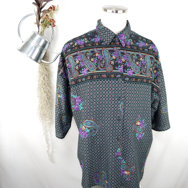 [M] Paisley Three-quarter-sleeve Shirt | ペイズリー柄 七分袖 シャツ