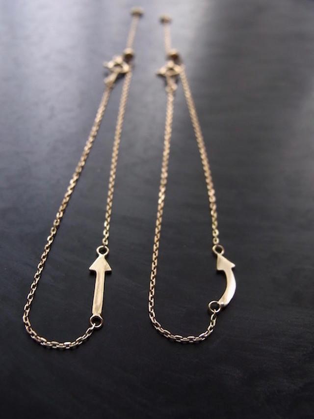 K18 ARROW↑⤴︎ MOTIF Bracelet /18金製 矢印モチーフブレスレット