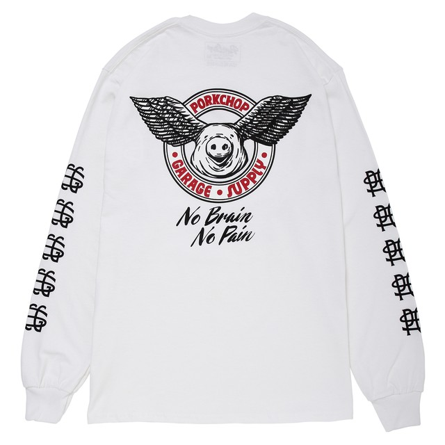 WING PORK L/S TEE/WHITE
