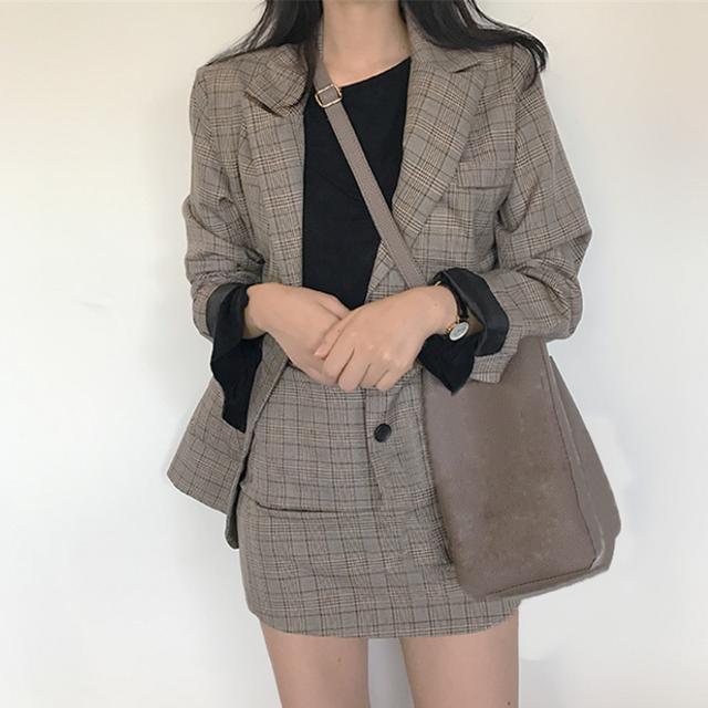 【セット】「単品注文」カジュアルチェック柄長袖折り襟トップス+スカート34183064