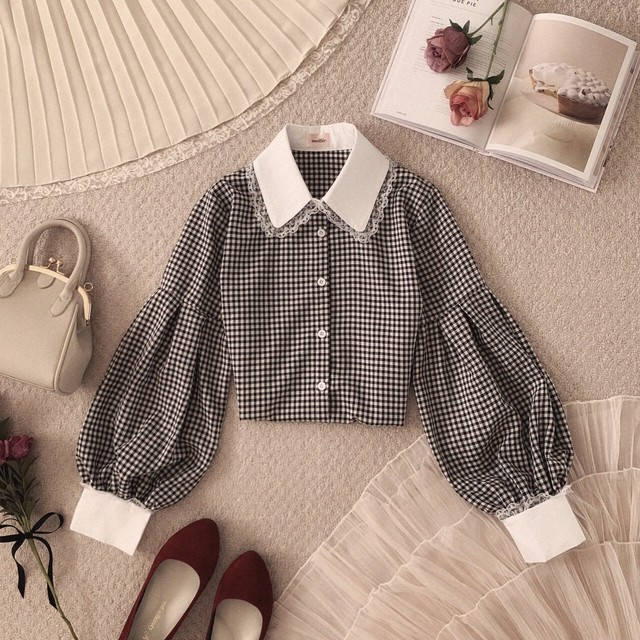 数量限定予約【meltie】girly gingham blouse