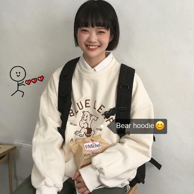 【送料無料】 CUTEな刺繍ロゴ♡ プルオーバー スウェット カジュアル トレーナー ベア クマ ゆるかわ レトロ