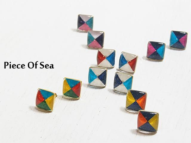 FUNADE piece of sea 四角形ピアス