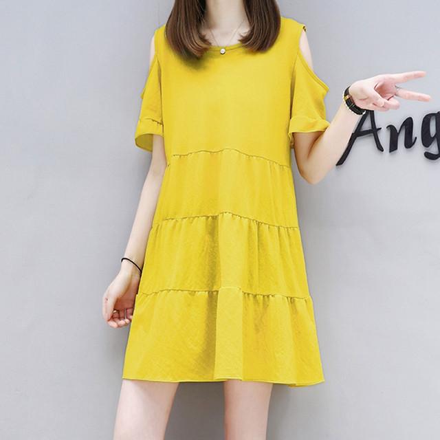 【dress】簡約・シンプルAライン膝上無地オープンショルダーカジュアルワンピース