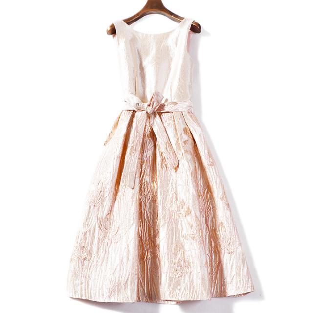 ノースリーブ パフスカート ドレス【R0481】