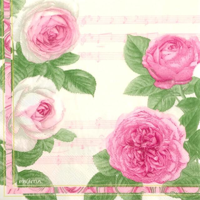 【FRONTIA】バラ売り1枚 ランチサイズ ペーパーナプキン 音符とピンクローズ ホワイト