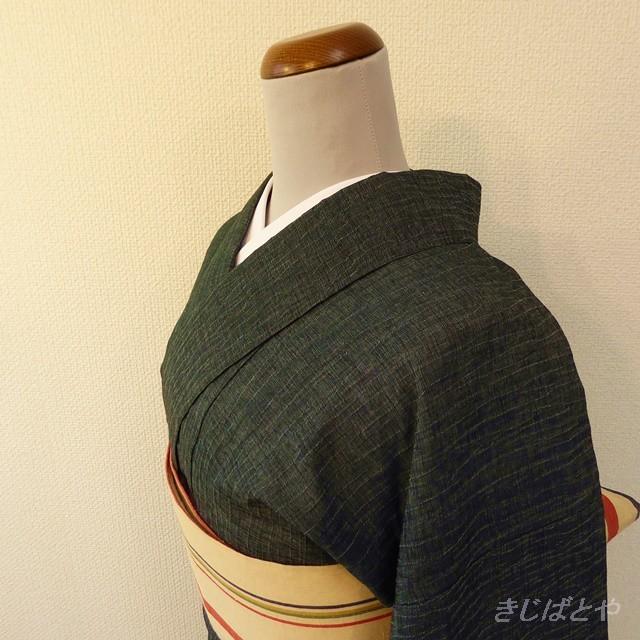 ちぢみ 深い深い苔色の小紋 単衣
