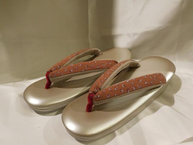 茶系小柄古布鼻緒ぞうり(Lサイズ) Japanese shoes