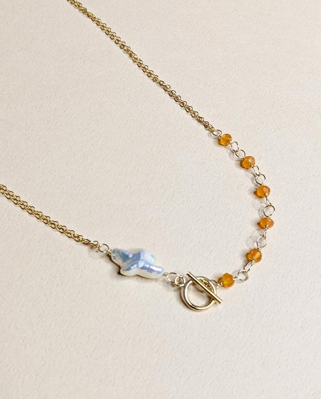 2 WAY Carnelian & Pearl necklace   MIHO meets RUKUS