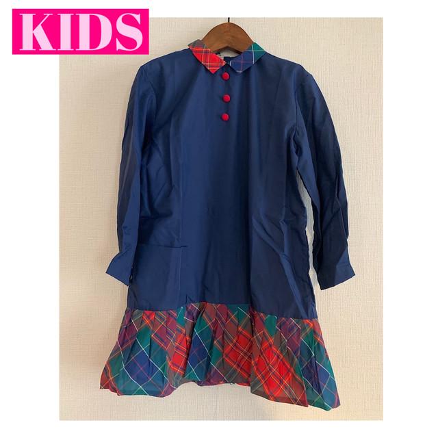 【送料無料】【KIDS】French vintage 70's navy and checkered nylon dress - Size 7 years-