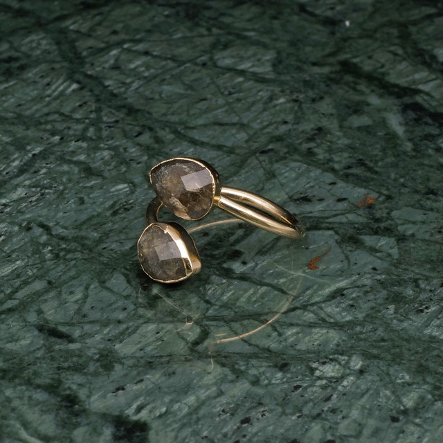 DOUBLE STONE OPEN RING GOLD 001