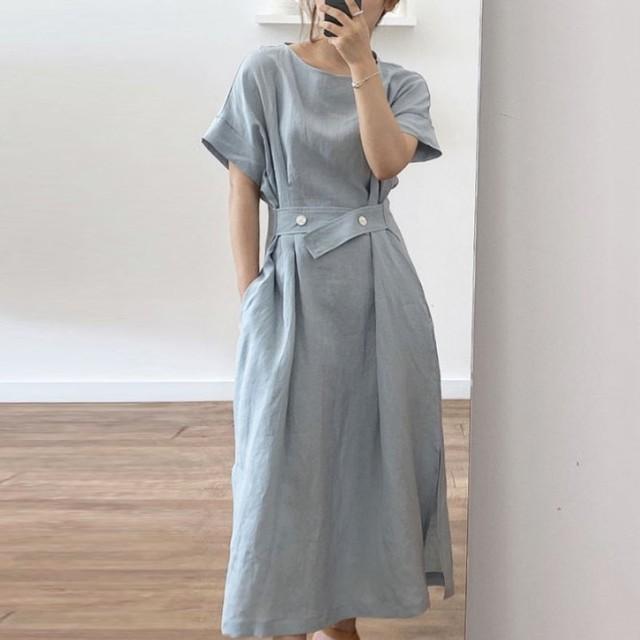 【ワンピース】ins超人気 ファッション シンプル ボタン ベルト付き 半袖 カジュアルワンピース44191397