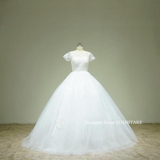 上半身ビジュー&スカートスパンコール挙式用ウエディングドレス/結婚式/1.5次会