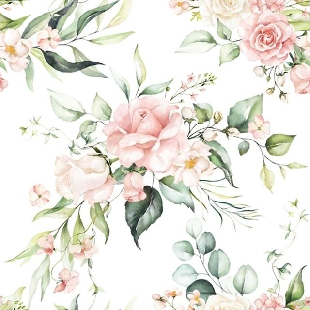2021春夏【ti-flair】バラ売り2枚 ランチサイズ ペーパーナプキン Blush Pink Bouquet ホワイト