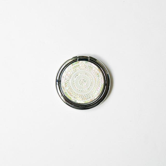 天然貝スマホリング・バンカーリング(ホワイトレース)螺鈿アート
