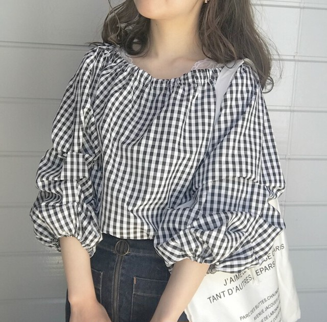 ribbon gingham check blouse