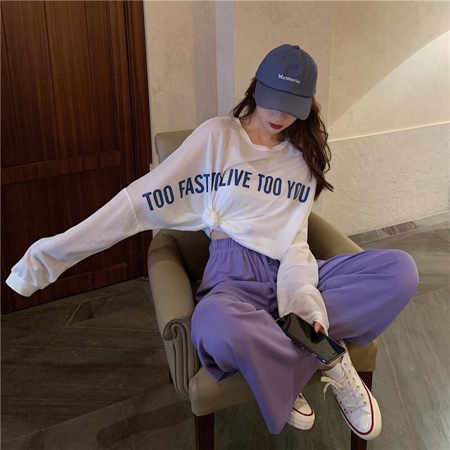 【当日発送】ゆったりパンツ+シンプルTシャツ