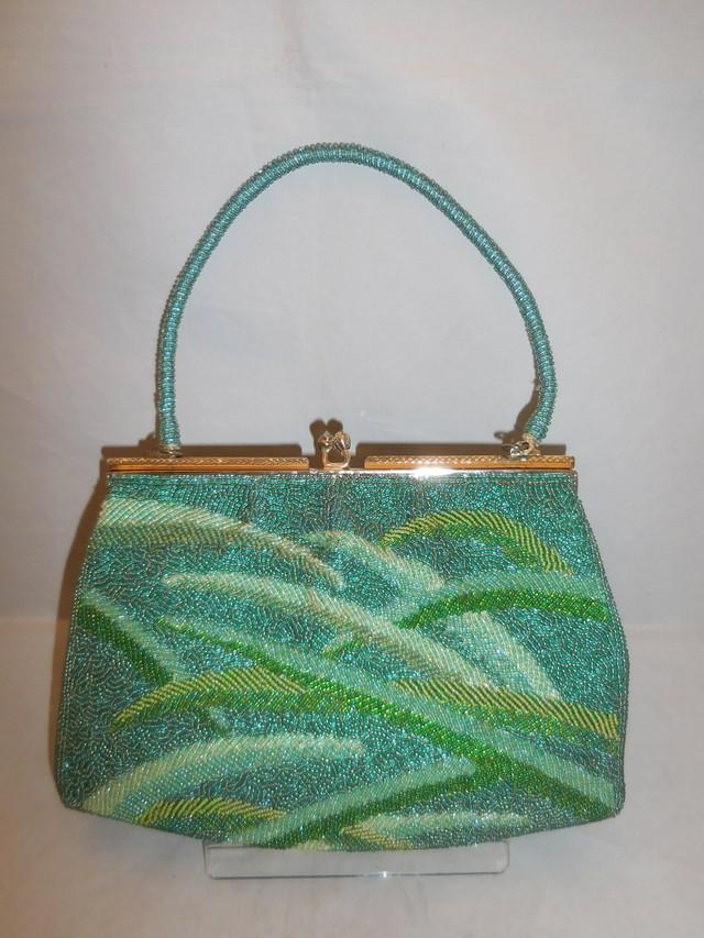 薄緑ビーズビィンビンティージバック green color bead vintage bag (made in Japan)(No63)