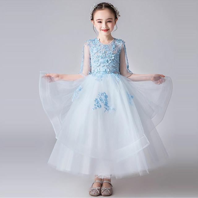 子どもドレス キッズドレス ロングドレス 刺繍 立体花飾り フォーマル用 ピアノ発表会 結婚式 花童 卒業式 子供服 女の子 ワンピース ブルー