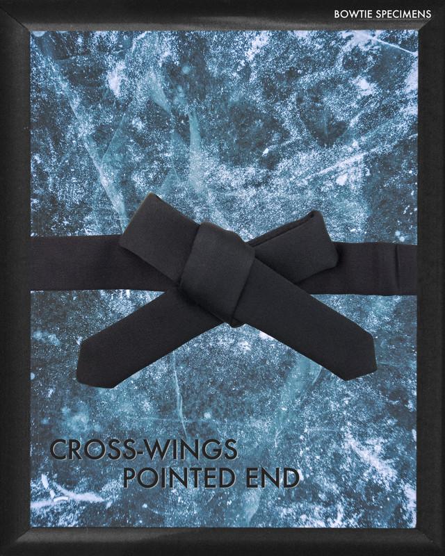 復刻 クロスウィングス・ポインテッドエンド (ブラックサテン/ソリッド) 作り結び型(フック型)