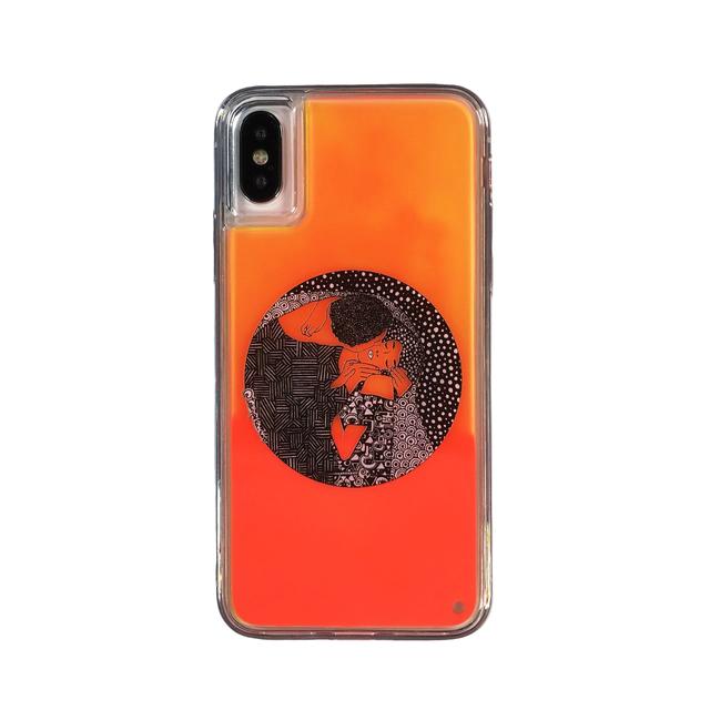 ARTiFY iPhone X/Xs ネオンサンドケース クリムト キス 円形 オレンジ/オレンジ AJ00408