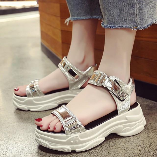 【shoes】シンプルマジックテープ厚底サンダル